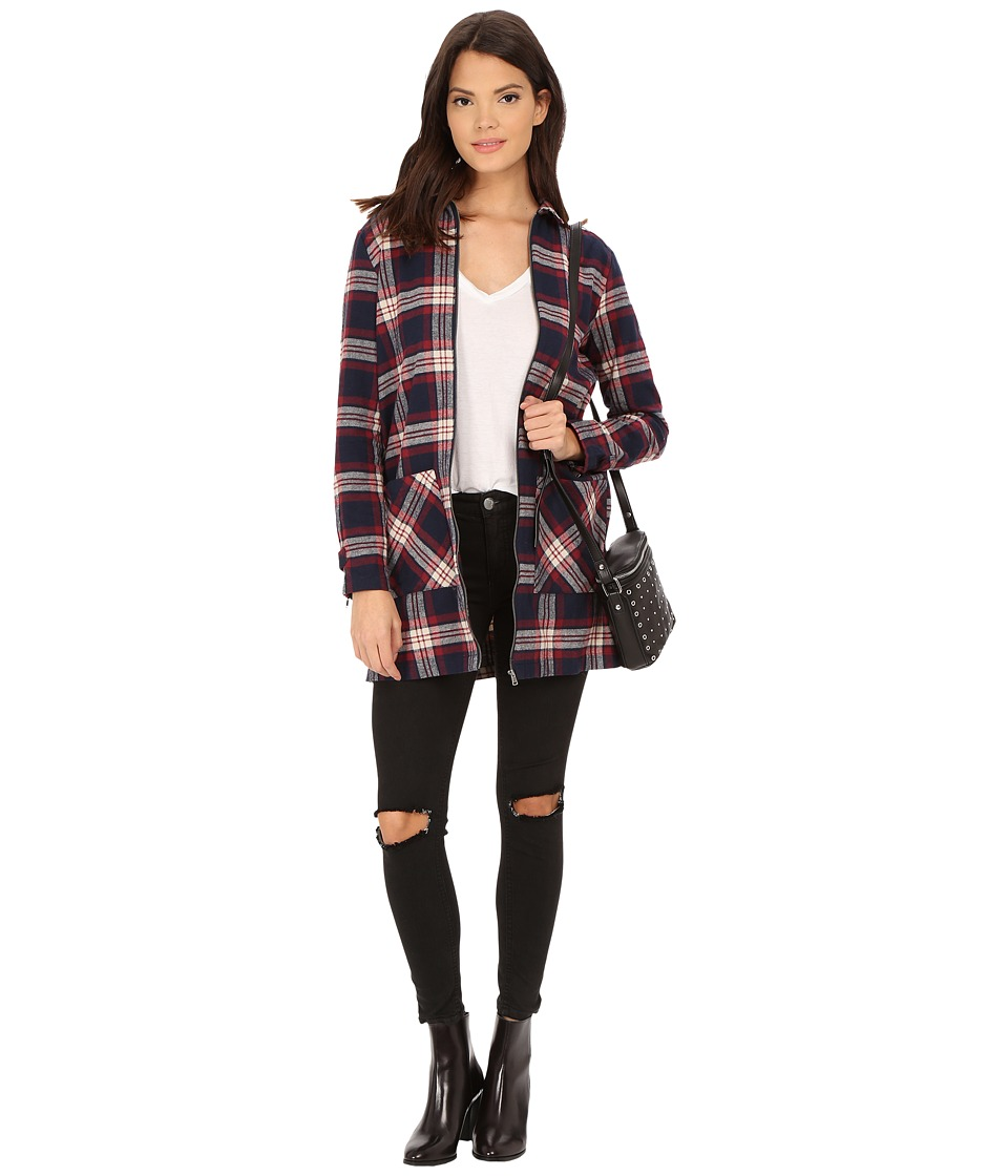 ONLY - Alana Plaid Woven Zip-Up Jacket (Night Sky/Windsor Wine) Women's Coat