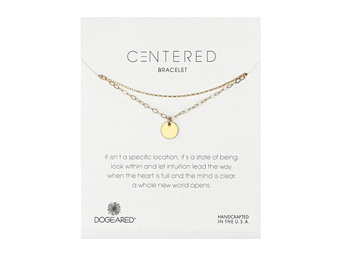 Dogeared - Centered Medium Circle 2 Chain Bracelet (Gold Dipped) Bracelet