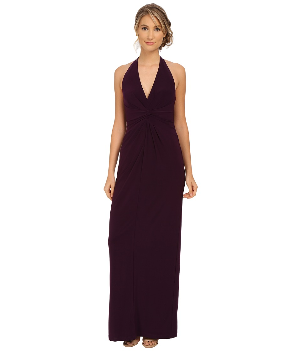 Adrianna Papell - Long Jersey Halter Dress (Plum) Women's Dress