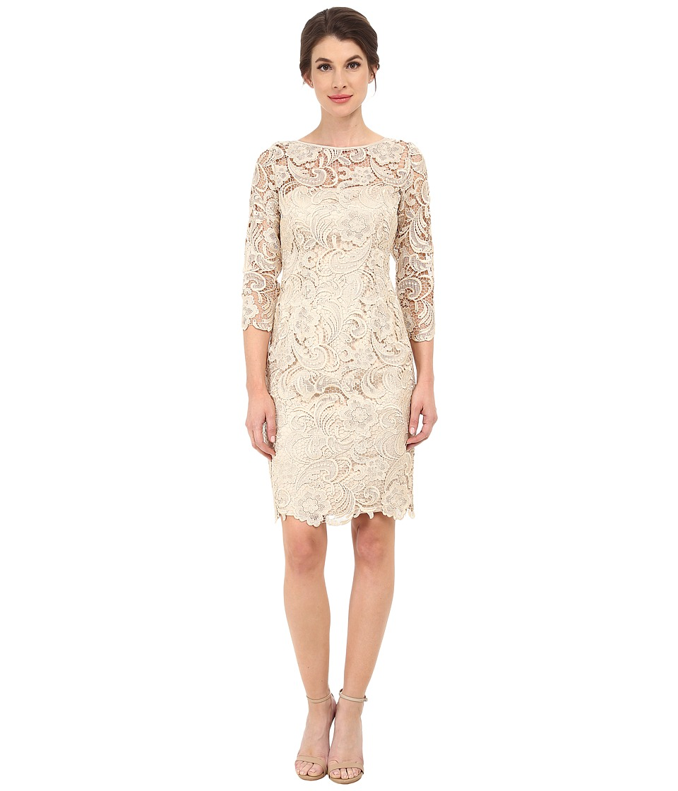 Adrianna Papell - 3/4 Sleeve Guipure Cocktail Dress (Champagne) Women's Dress