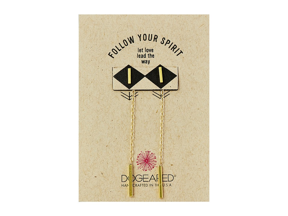 Dogeared - Follow Your Spirit Teeny Bar Earrings with Back Chain Bar Drop (Gold Dipped) Earring