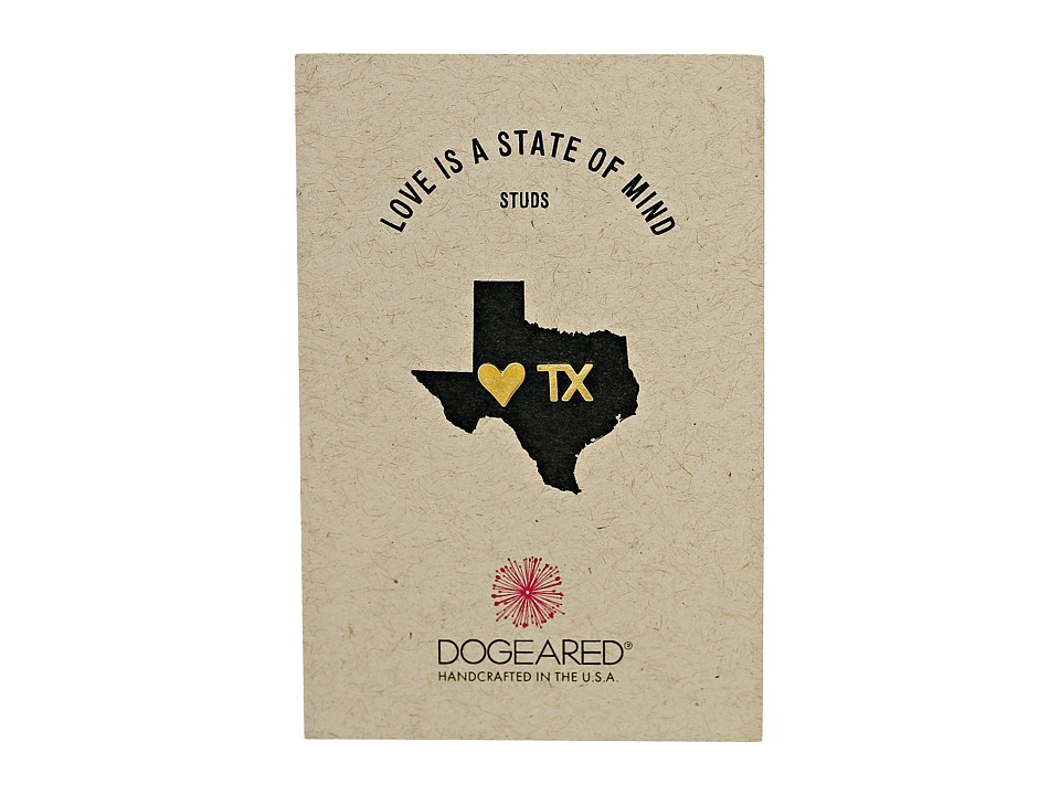 Dogeared - Love Is A State Of Mind Flat Heart Studs Earrings (Gold Dipped) Earring