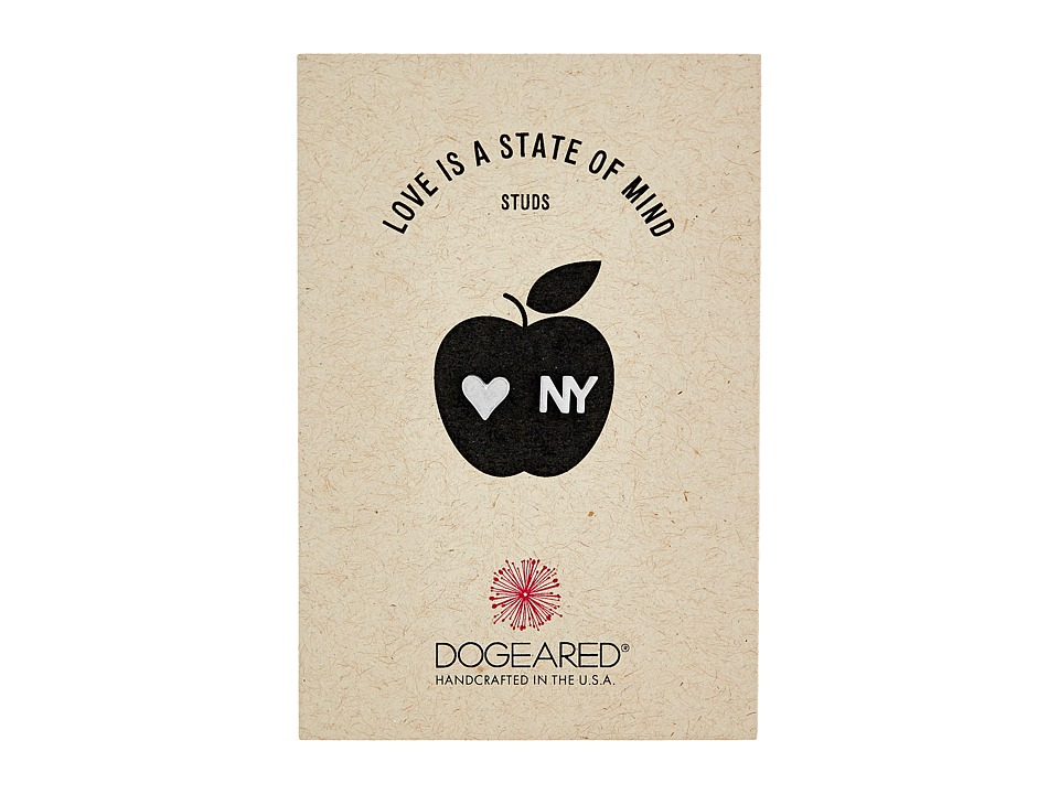 Dogeared - Love Is A State Of Mind Flat Heart Studs Earrings (Sterling Silver 2) Earring