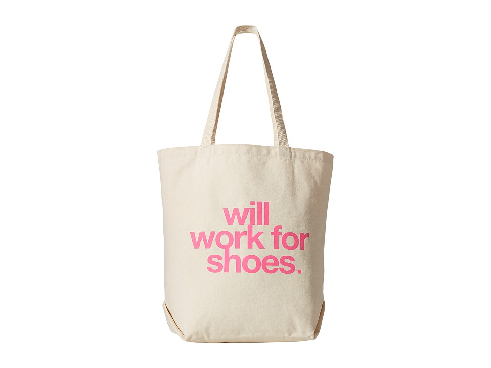 Dogeared - Will Work For Shoes Big Tote (Canvas/Pink) Tote Handbags