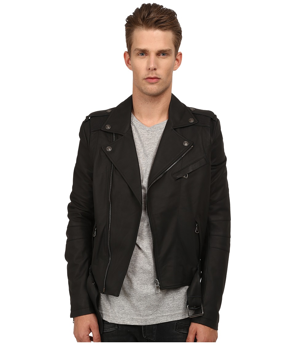 Pierre Balmain - Leather Jacket (Black) Men's Coat