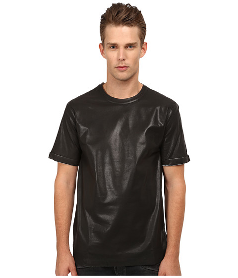 Pierre Balmain - Leather Style T-Shirt (Black) Men's T Shirt
