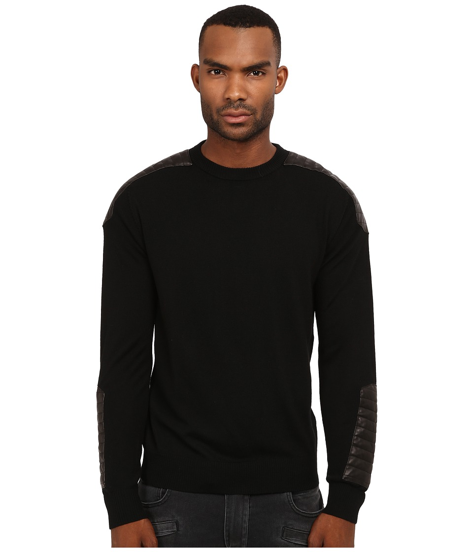 Pierre Balmain - Leather-Ribbed Sweater (Black) Men's Sweater