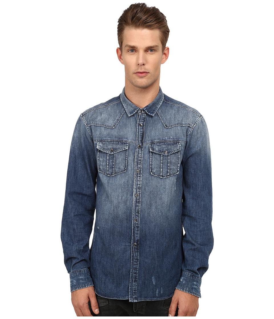 Pierre Balmain - Denim Shirt (Blue) Men's Long Sleeve Button Up