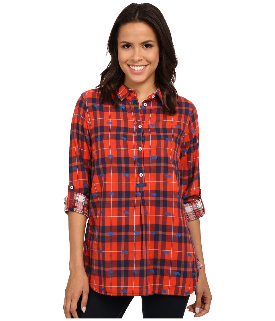 Hatley - Plaid Pop Over Top (Orange Bears) Women's Clothing
