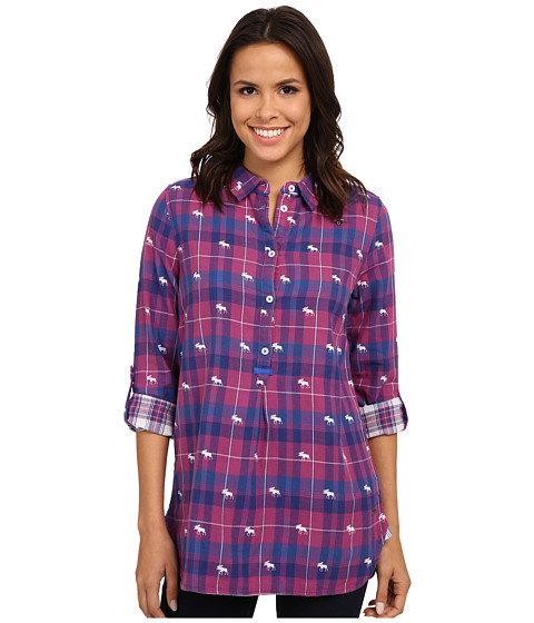 Hatley - Plaid Pop Over Top (Orchid Navy Moose) Women's Clothing