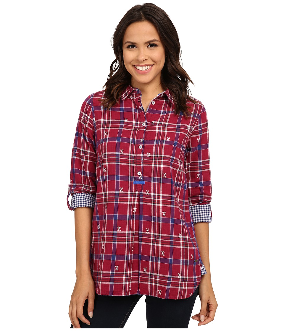 Hatley - Plaid Pop Over Top (Burgundy Ski Cross) Women's Clothing
