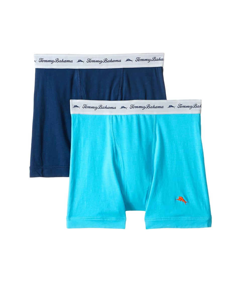Tommy Bahama - Solid Stretch Cotton Comfort Boxer Briefs 2-Pack (Aqua/Neptune) Men