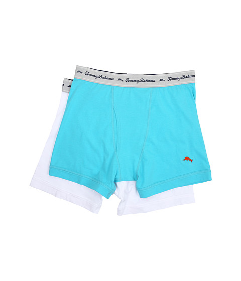 Tommy Bahama - Solid Stretch Cotton Comfort Boxer Briefs 2-Pack (Aqua/White) Men