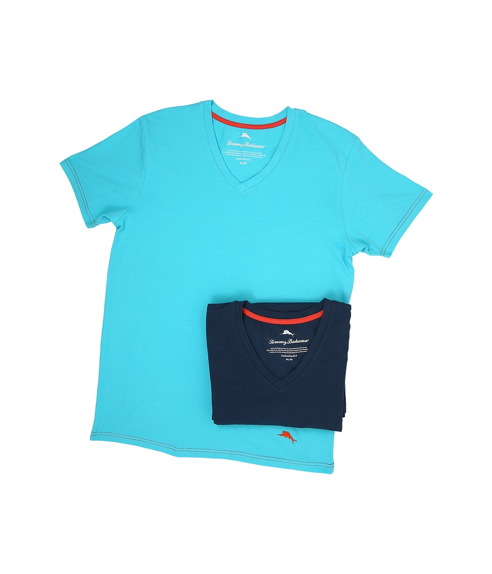 Tommy Bahama - Solid Stretch Cotton Comfort V-Neck T-Shirt 2-Pack (Aqua/Neptune) Men's T Shirt