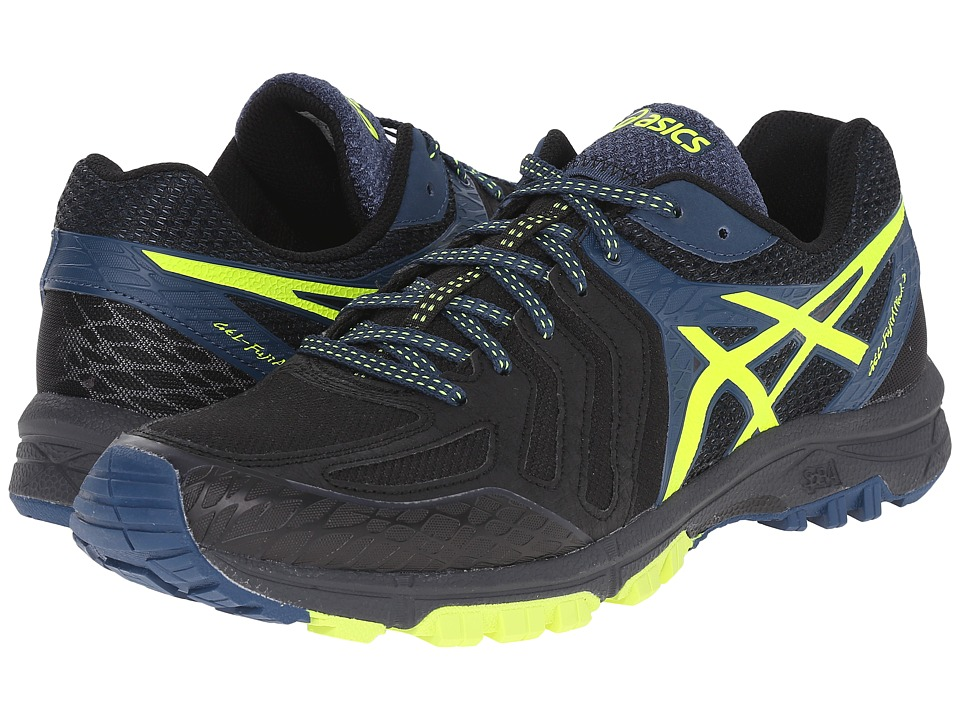 ASICS - GEL-FujiAttack 5 (Black/Flash Yellow/Mediterranean) Men's Running Shoes