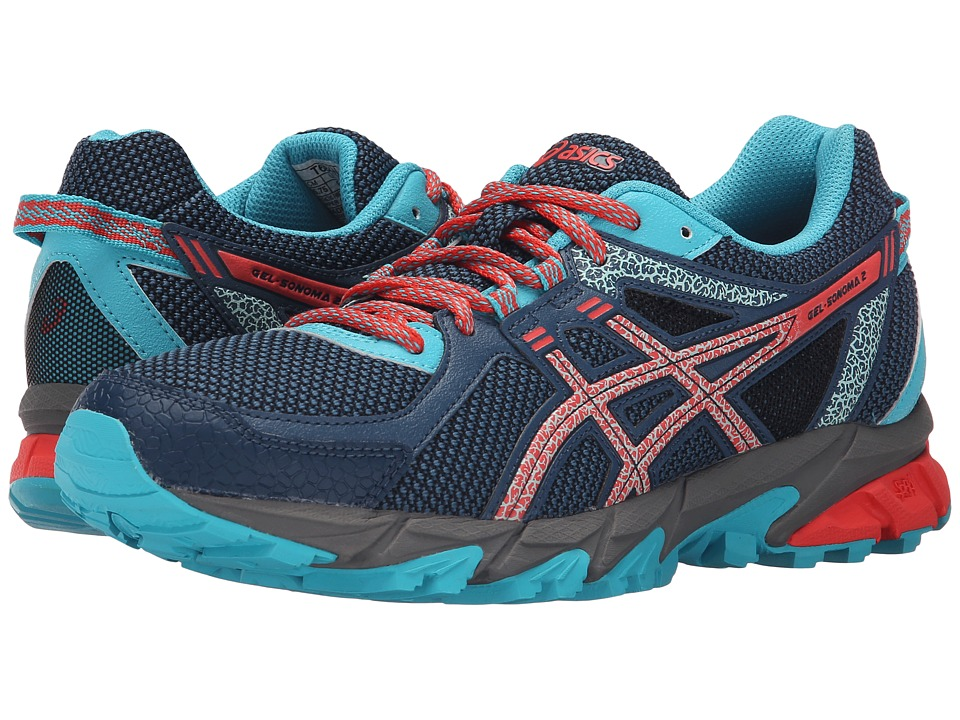 ASICS - GEL-Sonoma 2 (Mediterranean/Flash Coral/Scuba Blue) Women's Running Shoes