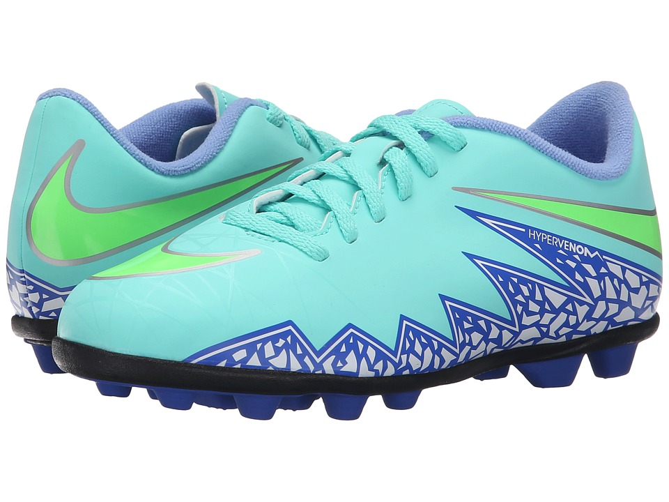 Nike Kids - Jr Hypervenom Phade II FG-R Soccer (Little Kid/Big Kid) (Hyper Turquoise/Racer Blue/Chalk Blue/Voltage Green) Kids Shoes