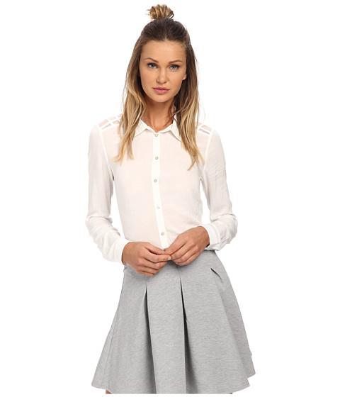 ONLY - Verga Long Sleeve Mesh Button Up Shirt (Cloud Dancer) Women