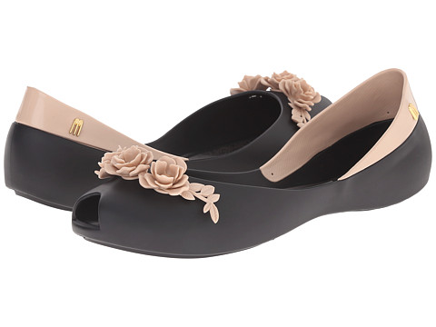 Melissa Shoes - AH + FLOWER QUEEN (Black/Beige) Women's Flat Shoes