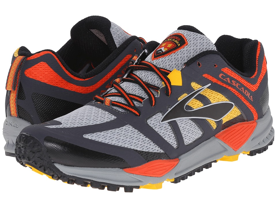 Brooks - Cascadia 11 (River Rock/CherryTomato/Spectra Yellow) Men's Running Shoes