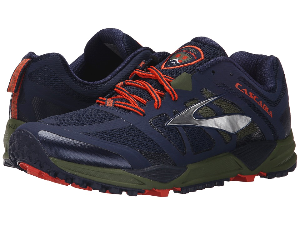 Brooks - Cascadia 11 (Peacoat/Olive/Torch) Men's Running Shoes