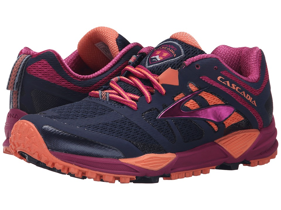 Brooks - Cascadia 11 (Peacoat/Baton Rouge/Fusion Coral) Women's Running Shoes