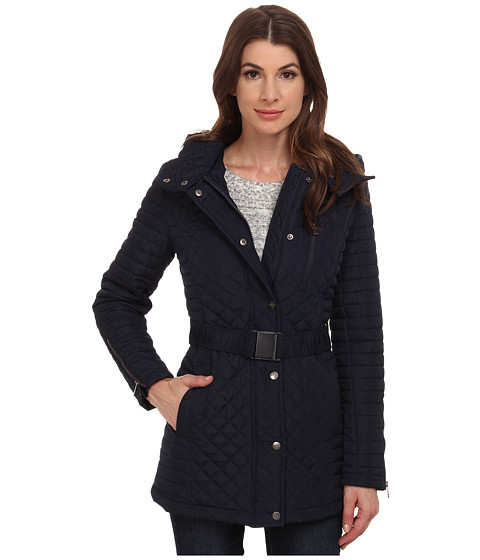 DKNY - 3/4 Mixed Media with Buckle (Navy) Women's Coat