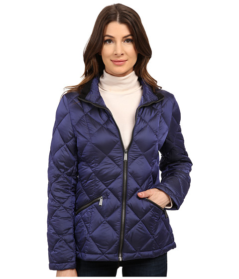 DKNY - Short Diamond Quilted with Knit Collar (Omni Blue) Women's Coat
