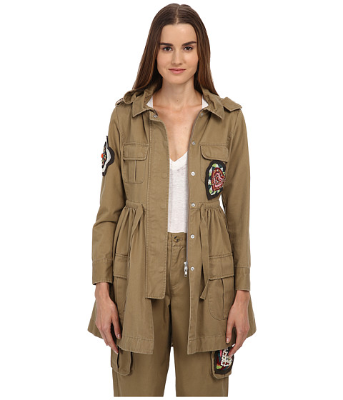 RED VALENTINO - Gabardine Military Style Jacket w/ Beaded Patches (Oliva) Women's Coat