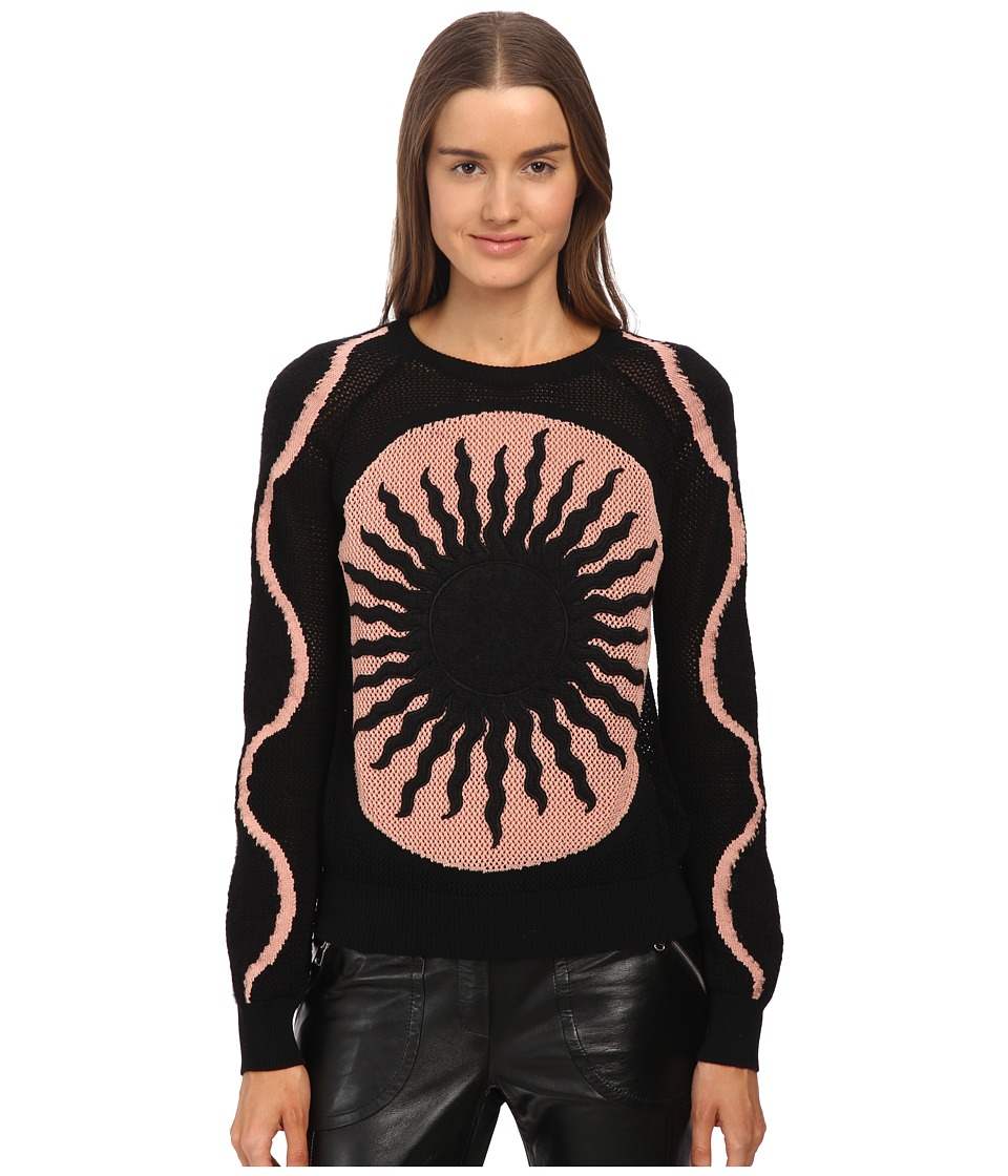 RED VALENTINO - Sun Embroidered Cotton and Mohair Yarn Sweater (Nero/Nudo) Women's Sweater