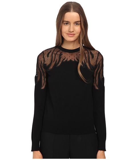 RED VALENTINO - Viscose Yarn with Wings Embroidered Point D'Esprit Sweater (Nero) Women's Sweater