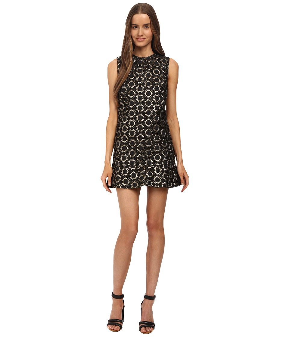 RED VALENTINO - Drop Waist Sun Jacquard Dress (Nero) Women's Dress