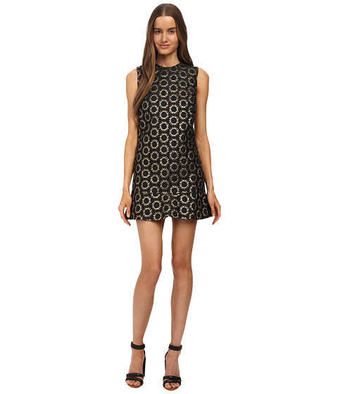RED VALENTINO - Drop Waist Sun Jacquard Dress (Nero) Women