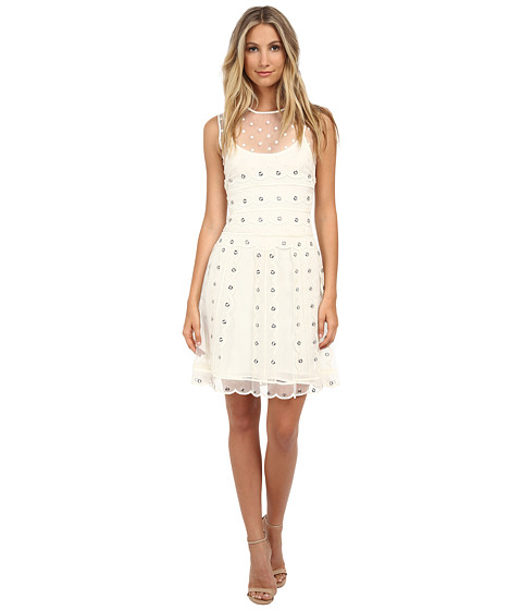 RED VALENTINO - Silk Organza Tulle w/ Eyelet and Polka Detail Dress (Avorio) Women's Dress
