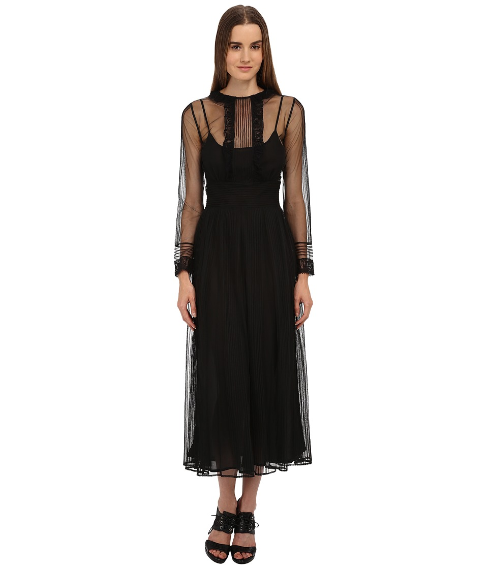 RED VALENTINO - Shear Tulle w/ Lace Detail Long Dress (Nero) Women