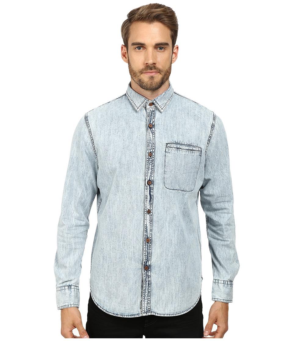 J.A.C.H.S. - Woven Button Down Shirt (Light Indigo) Men's Long Sleeve Button Up