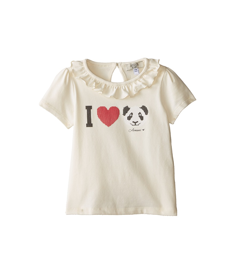 Armani Junior - Ivory Cap Sleeve Tee w/ Ruffle Collar w/ I Love Panda (Infant) (White) Girl's T Shirt