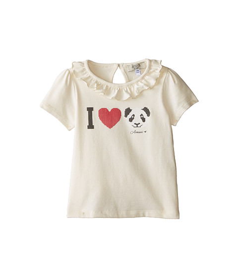Armani Junior - Ivory Cap Sleeve Tee w/ Ruffle Collar w/ I Love Panda (Infant) (White) Girl