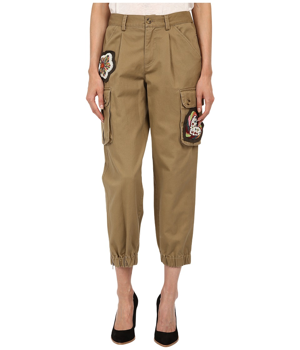 RED VALENTINO - Cotton Gabardine Pants w/ Hand Beaded Patches (Oliva) Women's Casual Pants