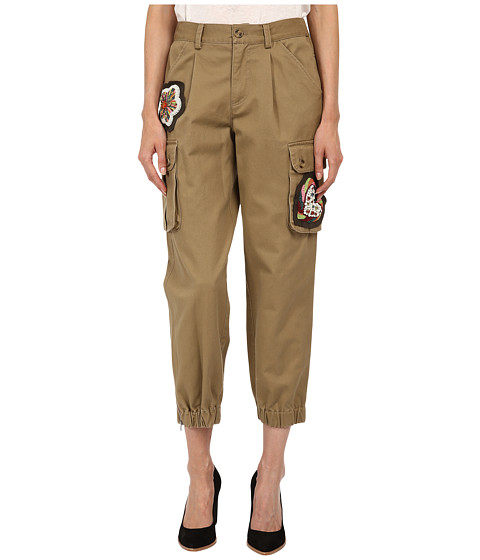 RED VALENTINO - Cotton Gabardine Pants w/ Hand Beaded Patches (Oliva) Women