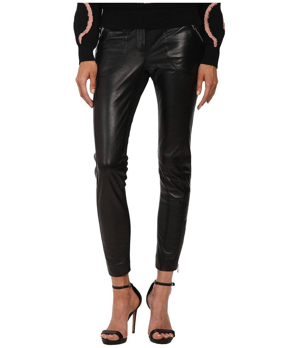 RED VALENTINO - Leather Pants with Jersey Ponte Panels (Nero) Women's Casual Pants