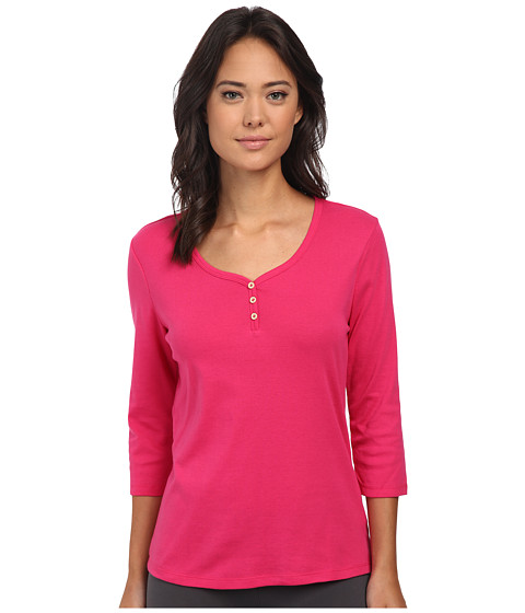Jockey - 3/4 Henley Sleeve Top (Magenta Pink) Women