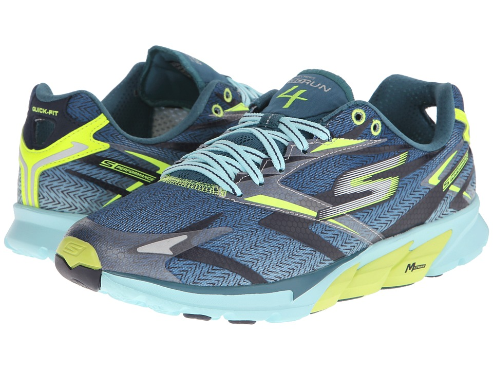 SKECHERS - Go Run 4 (Navy/Lime) Men's Running Shoes