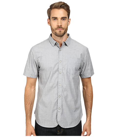 J.A.C.H.S. - Short Sleeve End On End One-Pocket Shirt (Black) Men's Short Sleeve Button Up