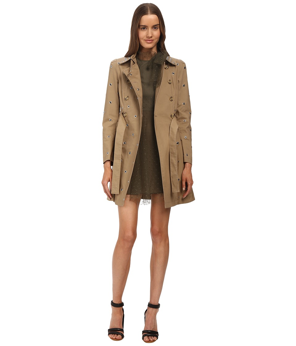 RED VALENTINO - Mackintosh Trench with Eyelet Detail (Duna) Women's Clothing
