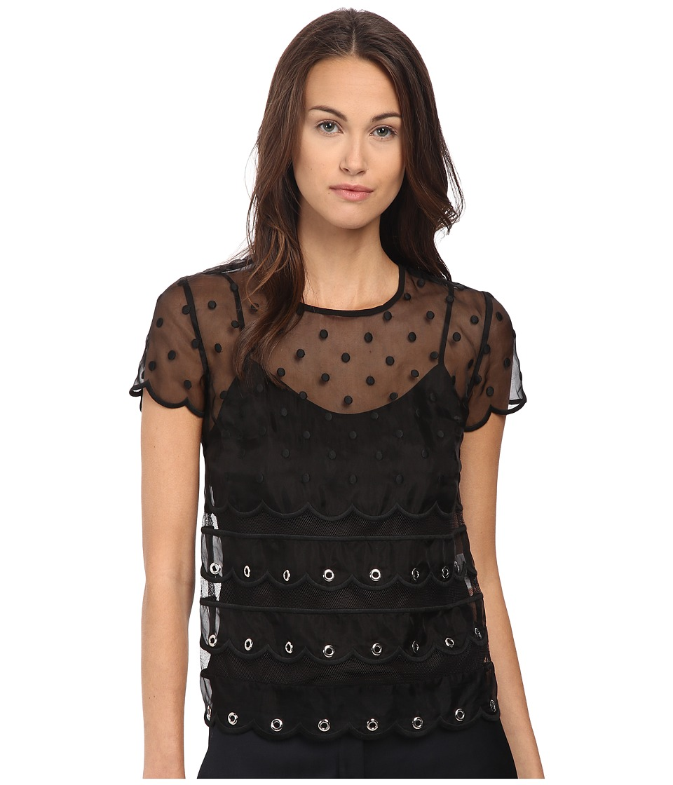 RED VALENTINO - Silk Organza Tulle w/ Eyelet and Polka Detail Blouse (Nero) Women's Blouse