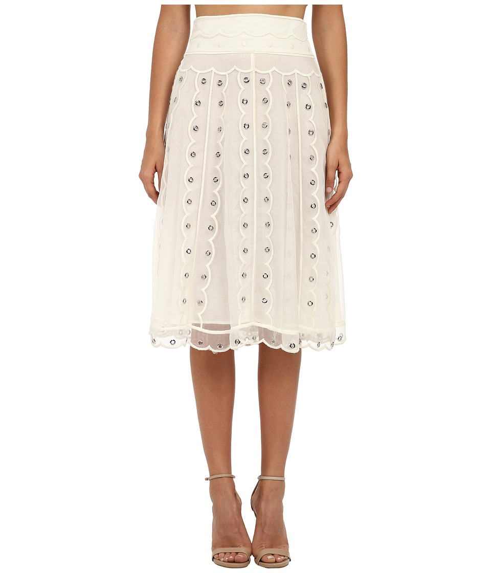 RED VALENTINO - Silk Organza Tulle Skirt w/ Eyelet and Polka Dots (Avorio) Women's Skirt