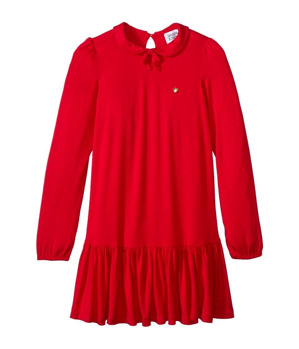 Armani Junior - Long Sleeve Collar Jersey Dress w/ Bow (Toddler/Little Kids/Big Kids) (Red) Girl