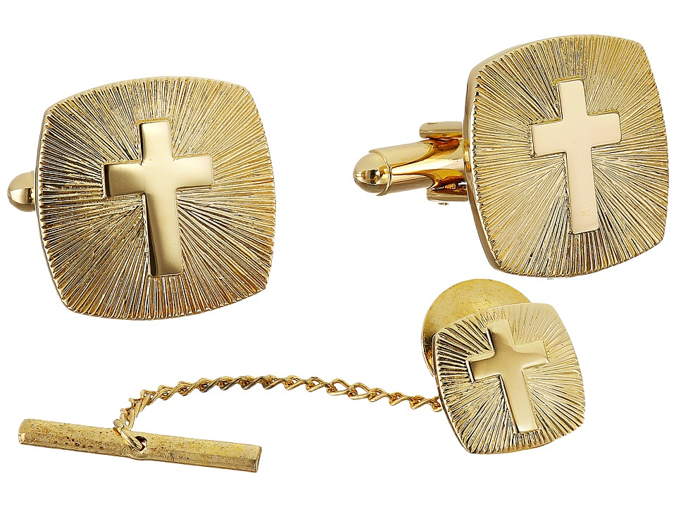 Stacy Adams - Cross with Brust Cuff Links (Gold) Cuff Links