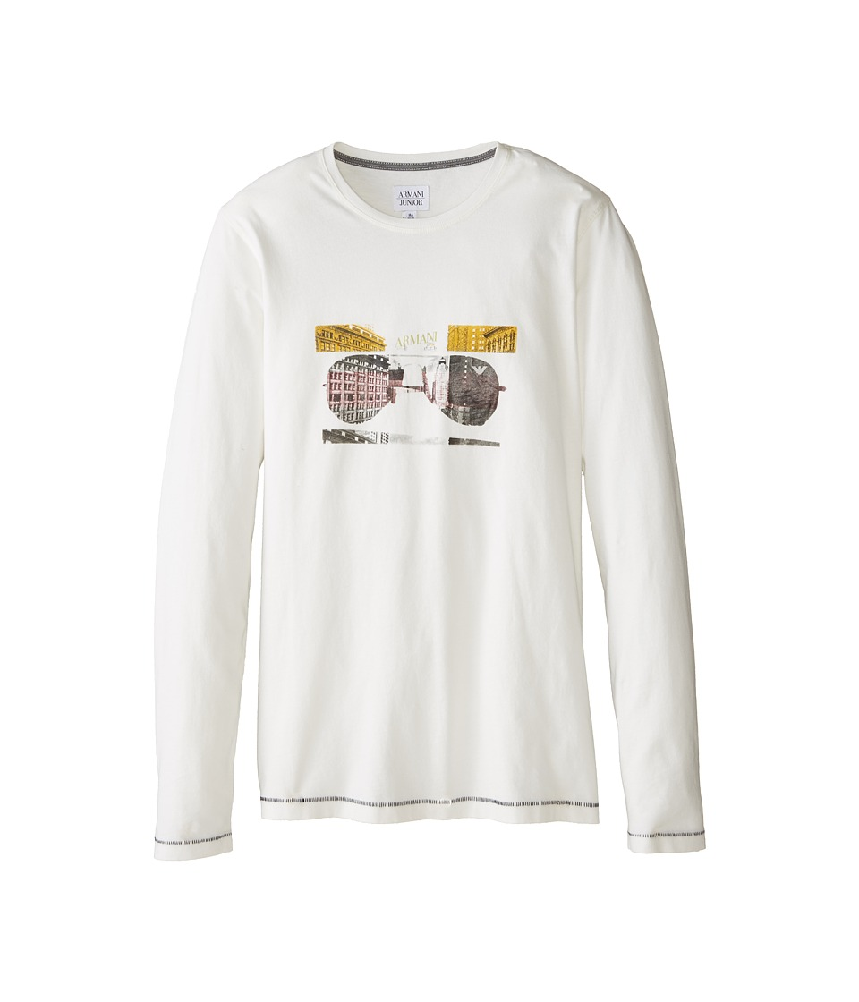 Armani Junior - Long Sleeve Sunglass Tee (Big Kids) (White) Boy
